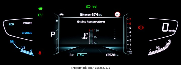 Modern LCD instrument cluster with fully digital engine temperature gauge in center. Illuminated car dashboard panel with speedometer, tachometer, fuel gauge, gear position indicator in hybrid vehicle