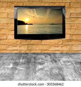 modern LCD with photo on texture wall