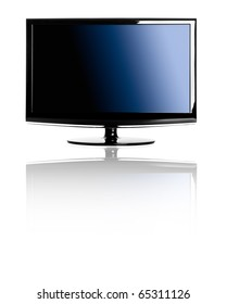 Modern lcd TV isolated over a white background with reflection