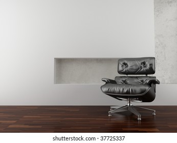 modern leather armchair to face a blank wall