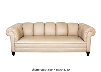 Modern leather sofa isolated on white background. Clipping path.