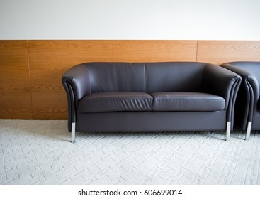 Modern leather sofa in a room.