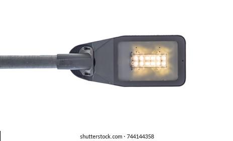 Modern LED street light lamp body on white background