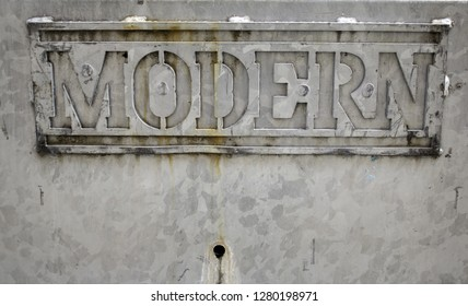 Modern letters carved in stone, symbol and backgrounds