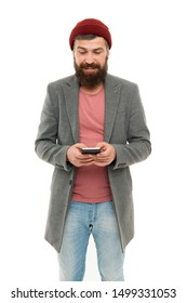 Modern life demands modern gadgets. Man with smartphone. Mobile dependence concept. Mobile phone always with me. Hipster bearded man use smartphone. Internet surfing social networks with smartphone.