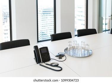 modern light conference room in a skyscraper