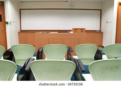 Modern light green Seat arrangement in University lecture room
