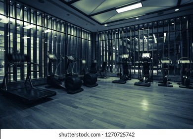 Modern light gym. Sports equipment in gym. Barbells of different weight on rack.Background blurry people in motion.