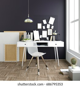 Modern light interior, a place for study, consisting of working Desk, lamp, monitor and a poster on the background of light wall. 3D illustration.