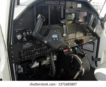 Modern light private airplane glass cockpit instrumentation panel