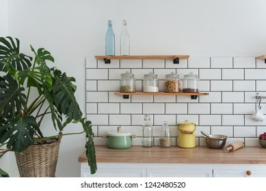 Modern light white kitchen with flower and shelves with products