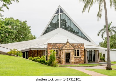 The modern lines of Christ Church Cathedral in Darwin, Australia, on a sunny day