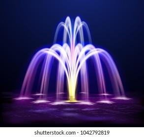 Modern lit night fountain illuminated yellow and purple color on dark background realistic  illustration