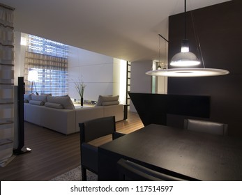 Modern living and dinning room