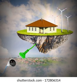 Modern living and renewable resources concept.