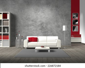 modern living room 3D rendering with white sofa and copy space for your own image/photos on the concrete wall behind the sofa