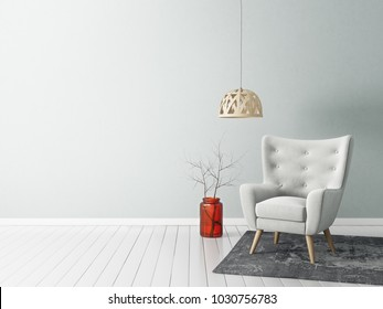 modern living room  with  armchair and lamp. scandinavian interior design furniture. 3d render illustration