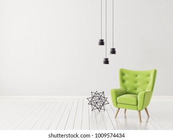 modern living room with armchair. scandinavian interior design furniture. 3d illustration