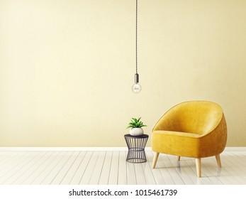 modern living room with armchair. scandinavian interior design furniture. 3d illustration