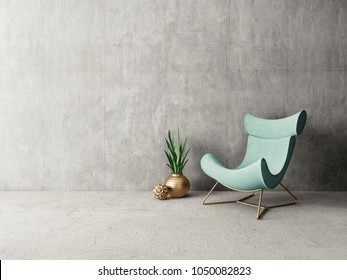 modern living room  with armchair. scandinavian interior design furniture. 3d render illustration