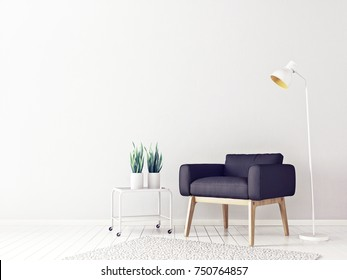 modern living room  with black armchair and lamp. scandinavian interior design furniture. 3d render illustration