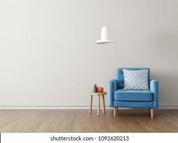 modern living room  with blue armchair and lamp. scandinavian interior design furniture. 3d render illustration