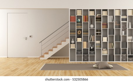 Modern Living room with bookcase ,staircase and closed door - 3d rendering