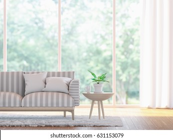 Modern living room close up  3d rendering image.There wooden floor and  large window overlooking to nature and forest