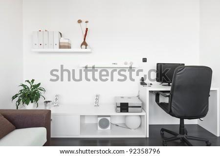 Modern Living Room Desk modern living room computer desk screen stock photo (edit now