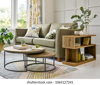 Modern living room with cupdoards