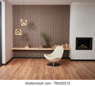 modern living room decoration with wallpaper and background style brown decoration fireplace and home object