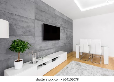 Modern Living Room With Decorative Concrete Wall, Tv, Cabinet, Table And  Chairs
