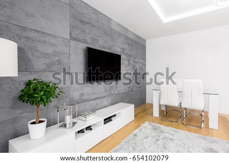 Modern living room decorative concrete wall stockfoto jetzt