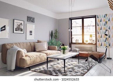 modern living room design. 3d rendering