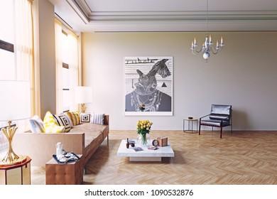modern living room design. 3d rendering concept
