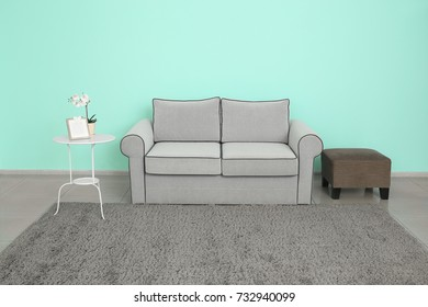 Modern living room design with comfortable sofa