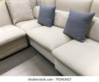 Modern living room design with sofa and pillow