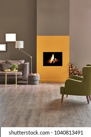 modern living room with fireplace brown and dark yellow detail.