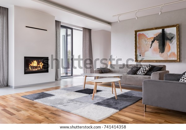 Modern Living Room Fireplace Sofa Balcony Stock Photo (Edit ...
