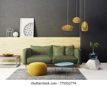 modern living room  with green sofa and lamp. scandinavian interior design furniture. 3d render illustration