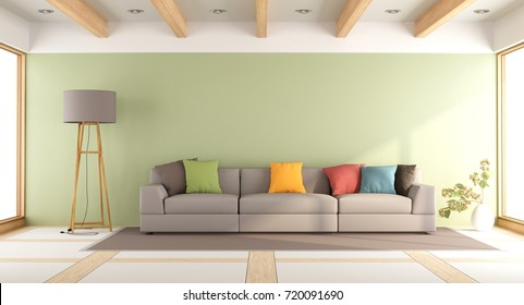 Modern living room with green wall and colorful sofa - 3d rendering