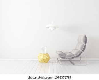 modern living room  with grey armchair and lamp. scandinavian interior design furniture. 3d render illustration