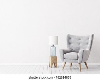 modern living room  with  grey armchair and lamp. scandinavian interior design 