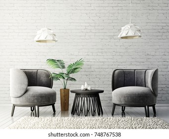 modern living room  with grey armchairs and lamp. scandinavian interior design furniture. 3d render illustration