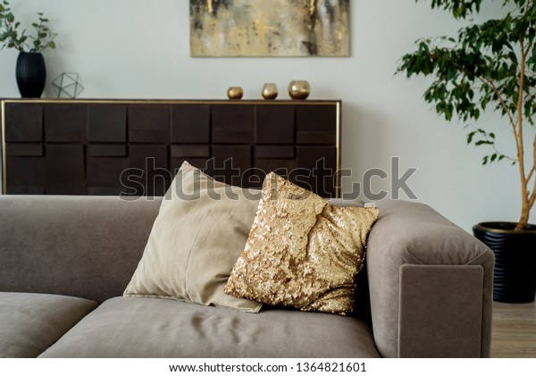 Enjoyable Modern Living Room Grey Sofa Decorative Stock Photo Edit Inzonedesignstudio Interior Chair Design Inzonedesignstudiocom