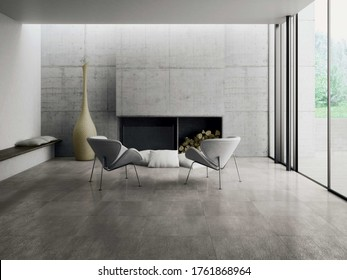 Modern living room with grey  tiles, seamless design, luxurious interior background. - Shutterstock ID 1761868964