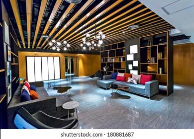 Modern Interieur Living : Modern loft industrial details d stockillustration