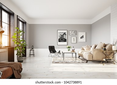 modern living room interior. 3d rendering concept