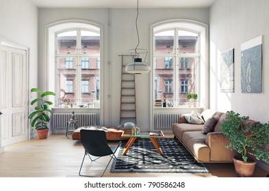 modern living room interior. 3D render concept