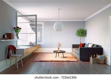 Modern living room interior. Beautiful window view zone.3d rendering design